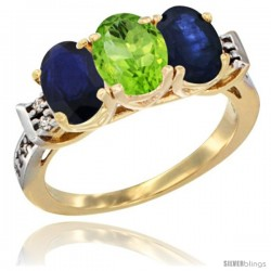 10K Yellow Gold Natural Peridot & Blue Sapphire Sides Ring 3-Stone Oval 7x5 mm Diamond Accent