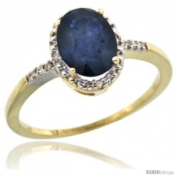 10k Yellow Gold Diamond Blue Sapphire Ring 1.17 ct Oval Stone 8x6 mm, 3/8 in wide