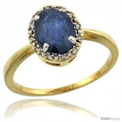 10k Yellow Gold Diamond Halo Blue Sapphire Ring 1.2 ct Oval Stone 8x6 mm, 1/2 in wide