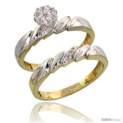 10k Yellow Gold Diamond Engagement Rings Set 2-Piece 0.07 cttw Brilliant Cut, 5/32 in wide