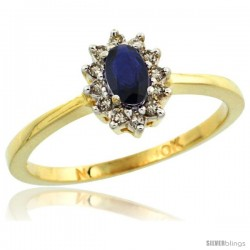 10k Yellow Gold Diamond Halo Blue Sapphire Ring 0.25 ct Oval Stone 5x3 mm, 5/16 in wide
