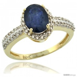 10k Yellow Gold Diamond Halo Blue Sapphire Ring 1.2 ct Oval Stone 8x6 mm, 3/8 in wide