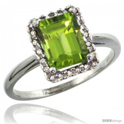 10k White Gold Diamond Peridot Ring 1.6 ct Emerald Shape 8x6 mm, 1/2 in wide