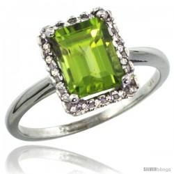 10k White Gold Diamond Peridot Ring 1.6 ct Emerald Shape 8x6 mm, 1/2 in wide