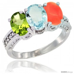 10K White Gold Natural Peridot, Aquamarine & Coral Ring 3-Stone Oval 7x5 mm Diamond Accent