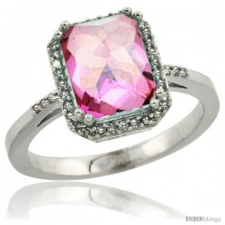 10k White Gold Diamond Pink Topaz Ring 2.53 ct Emerald Shape 9x7 mm, 1/2 in wide
