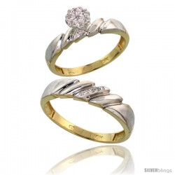 10k Yellow Gold Diamond Engagement Rings 2-Piece Set for Men and Women 0.08 cttw Brilliant Cut, 4mm & 5mm wide