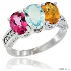 10K White Gold Natural Pink Topaz, Aquamarine & Whisky Quartz Ring 3-Stone Oval 7x5 mm Diamond Accent