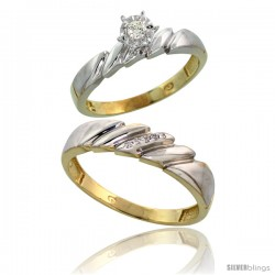 Gold Plated Sterling Silver 2-Piece Diamond Wedding Engagement Ring Set for Him & Her, 4mm & 5mm wide