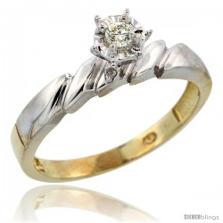 Gold Plated Sterling Silver Diamond Engagement Ring, 5/32 in wide