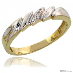 Gold Plated Sterling Silver Ladies Diamond Wedding Band, 5/32 in wide