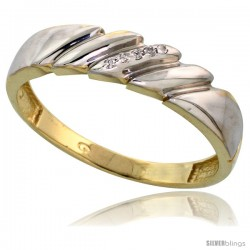 Gold Plated Sterling Silver Mens Diamond Wedding Band, 3/16 in wide -Style Agy111mb