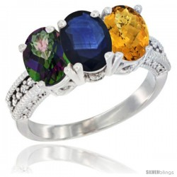14K White Gold Natural Mystic Topaz, Blue Sapphire & Whisky Quartz Ring 3-Stone 7x5 mm Oval Diamond Accent