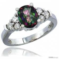 14k White Gold Ladies Natural Mystic Topaz Ring oval 9x7 Stone Diamond Accent