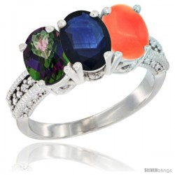 14K White Gold Natural Mystic Topaz, Blue Sapphire & Coral Ring 3-Stone 7x5 mm Oval Diamond Accent