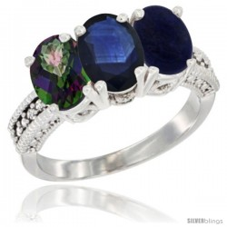 14K White Gold Natural Mystic Topaz, Blue Sapphire & Lapis Ring 3-Stone 7x5 mm Oval Diamond Accent
