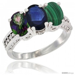 14K White Gold Natural Mystic Topaz, Blue Sapphire & Malachite Ring 3-Stone 7x5 mm Oval Diamond Accent