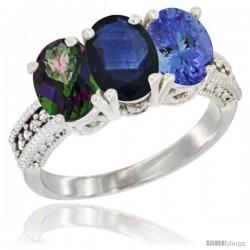14K White Gold Natural Mystic Topaz, Blue Sapphire & Tanzanite Ring 3-Stone 7x5 mm Oval Diamond Accent