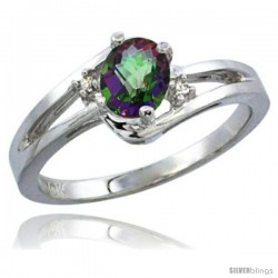 14k White Gold Ladies Natural Mystic Topaz Ring oval 6x4 Stone Diamond Accent -Style Cw408165