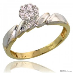 10k Yellow Gold Diamond Engagement Ring 0.05 cttw Brilliant Cut, 5/32 in wide