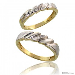 Gold Plated Sterling Silver Diamond 2 Piece Wedding Ring Set His 5mm & Hers 4mm
