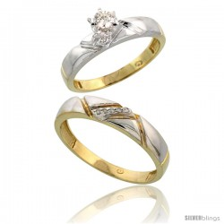 Gold Plated Sterling Silver 2-Piece Diamond Wedding Engagement Ring Set for Him & Her, 4mm & 4.5mm wide