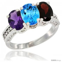 14K White Gold Natural Amethyst, Swiss Blue Topaz & Garnet Ring 3-Stone 7x5 mm Oval Diamond Accent