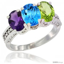 14K White Gold Natural Amethyst, Swiss Blue Topaz & Peridot Ring 3-Stone 7x5 mm Oval Diamond Accent