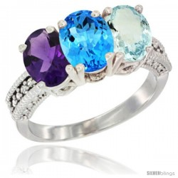 14K White Gold Natural Amethyst, Swiss Blue Topaz & Aquamarine Ring 3-Stone 7x5 mm Oval Diamond Accent