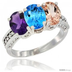 14K White Gold Natural Amethyst, Swiss Blue Topaz & Morganite Ring 3-Stone 7x5 mm Oval Diamond Accent