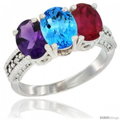 14K White Gold Natural Amethyst, Swiss Blue Topaz & Ruby Ring 3-Stone 7x5 mm Oval Diamond Accent