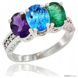 14K White Gold Natural Amethyst, Swiss Blue Topaz & Emerald Ring 3-Stone 7x5 mm Oval Diamond Accent