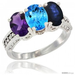 14K White Gold Natural Amethyst, Swiss Blue Topaz & Blue Sapphire Ring 3-Stone 7x5 mm Oval Diamond Accent