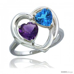 14k White Gold 2-Stone Heart Ring 6mm Natural Amethyst & Swiss Blue Topaz Diamond Accent