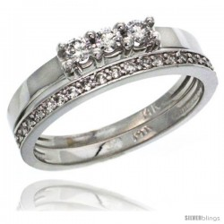 14k White Gold 2-Pc. Diamond Engagement Ring Set w/ 0.40 Carat Brilliant Cut ( H-I Color VS2-SI1 Clarity ) Diamonds, 3/16 in