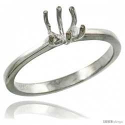 14k White Gold Semi Mount (for 5.5mm Round Diamond) Engagement Ring 1/16 in. (2mm) wide