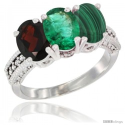 14K White Gold Natural Garnet, Emerald & Malachite Ring 3-Stone 7x5 mm Oval Diamond Accent
