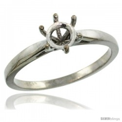 14k White Gold Semi Mount (for 5mm Round Diamond) Engagement Ring 1/16 in. (2mm) wide -Style D323731w
