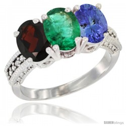 14K White Gold Natural Garnet, Emerald & Tanzanite Ring 3-Stone 7x5 mm Oval Diamond Accent