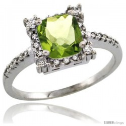 10k White Gold Diamond Halo Peridot Ring 1.2 ct Checkerboard Cut Cushion 6 mm, 11/32 in wide