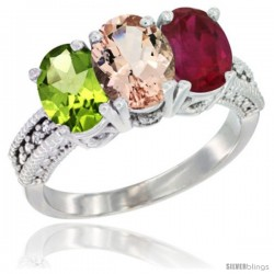 10K White Gold Natural Peridot, Morganite & Ruby Ring 3-Stone Oval 7x5 mm Diamond Accent