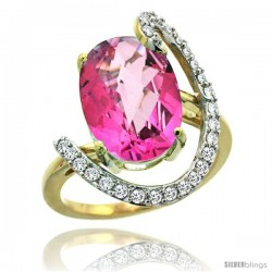 14k Gold Natural Pink Topaz Ring Oval 14x10 Diamond Accent, 3/4inch wide