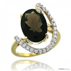 14k Gold Natural Smoky Topaz Ring Oval 14x10 Diamond Accent, 3/4inch wide