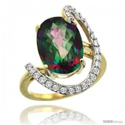 14k Gold Natural Mystic Topaz Ring Oval 14x10 Diamond Accent, 3/4inch wide