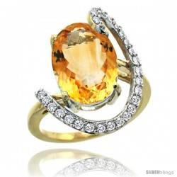 14k Gold Natural Citrine Ring Oval 14x10 Diamond Accent, 3/4inch wide