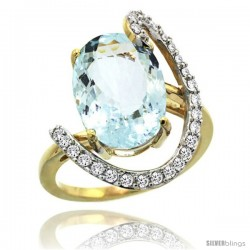 14k Gold Natural Aquamarine Ring Oval 14x10 Diamond Accent, 3/4inch wide