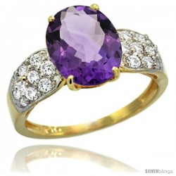 14k Gold Natural Amethyst Ring 10x8 mm Oval Shape Diamond Accent, 3/8inch wide