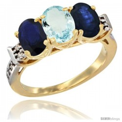 10K Yellow Gold Natural Aquamarine & Blue Sapphire Sides Ring 3-Stone Oval 7x5 mm Diamond Accent