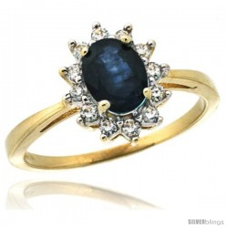 10k Yellow Gold Diamond Halo Blue Sapphire Ring 0.85 ct Oval Stone 7x5 mm, 1/2 in wide