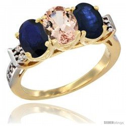 10K Yellow Gold Natural Morganite & Blue Sapphire Sides Ring 3-Stone Oval 7x5 mm Diamond Accent